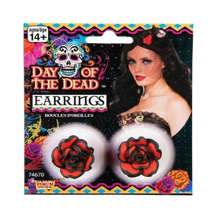 Day of The Dead Red Rose Costume Earrings - image 1 de 1
