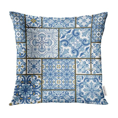 Majolica Pottery - ECCOT Majolica Pottery Blue and White Azulejo Original Traditional Portuguese Spain Patchwork Pillow Case Pillow Cover 20x20 inch
