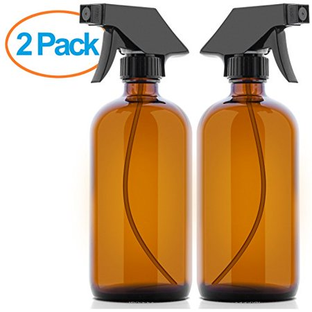 Culinaire 16 oz Empty Amber Glass Spray Bottles with Labels (2 Pack) - Refillable Container Ideal For Essential Oils Cleaning Products or