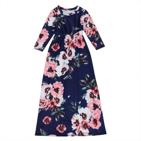 Bustier Floor Length Dress - Mommy and Me Flower Print Maxi Dress Round Neck Long Sleeve High Waist Floor Length Long Dress Autumn Outfits