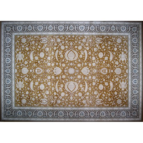 Astoria Grand Nisbet Hand Look Persian Wool Brown/Blue/Ivory Area Rug
