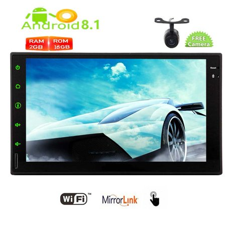 Best Gift for Christmas! Pure Android 8.1 Oreo System Car Stereo 7 inch Capacitive Touch screen Automitive GPS Navigation Autoradio Video Bluetooth Handsfree 1080P Wifi Mirrorlink with Rear
