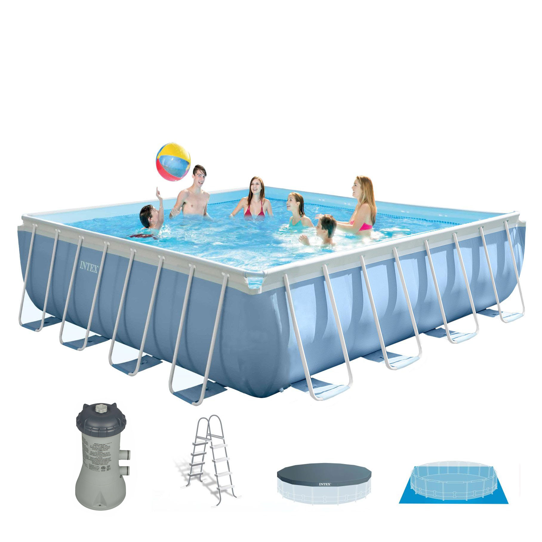 "Intex 14' x 42"" Square Frame Above Ground Pool Set with Filter Pump and Ladder"