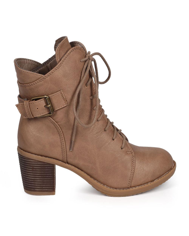 Wild Diva DA02 Women Leatherette Round Toe Buckle Chunky Heel Combat Boot