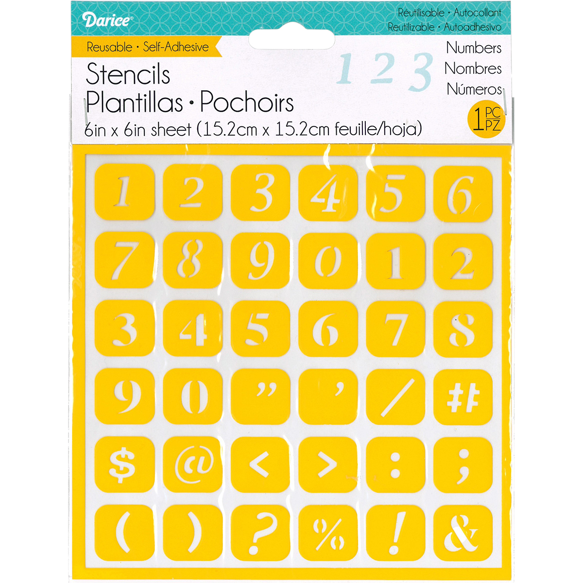 "Reusable Self Adhesive Stencil 6""X6""-Numbers"