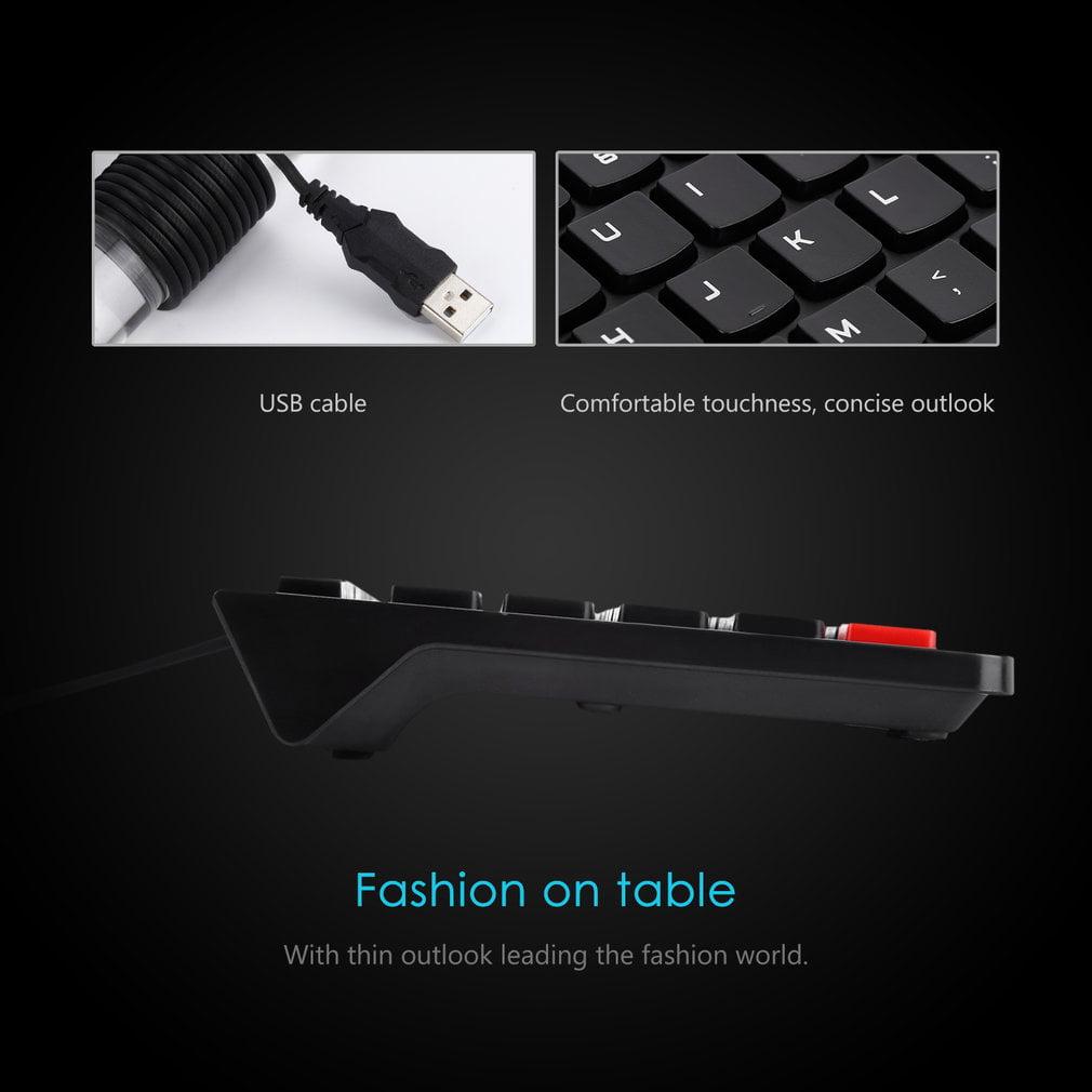 LESHP Ultra-thin Chocolate Wired Keyboard Desktop Office Home Games Slim Mute Computer 104 Keys Full-size Ergonomic Design