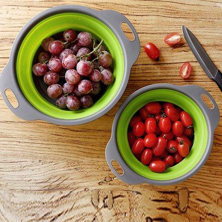Foldable Silicone Colander Fruit Vegetable Washing Basket Strainer Kitchen GN L
