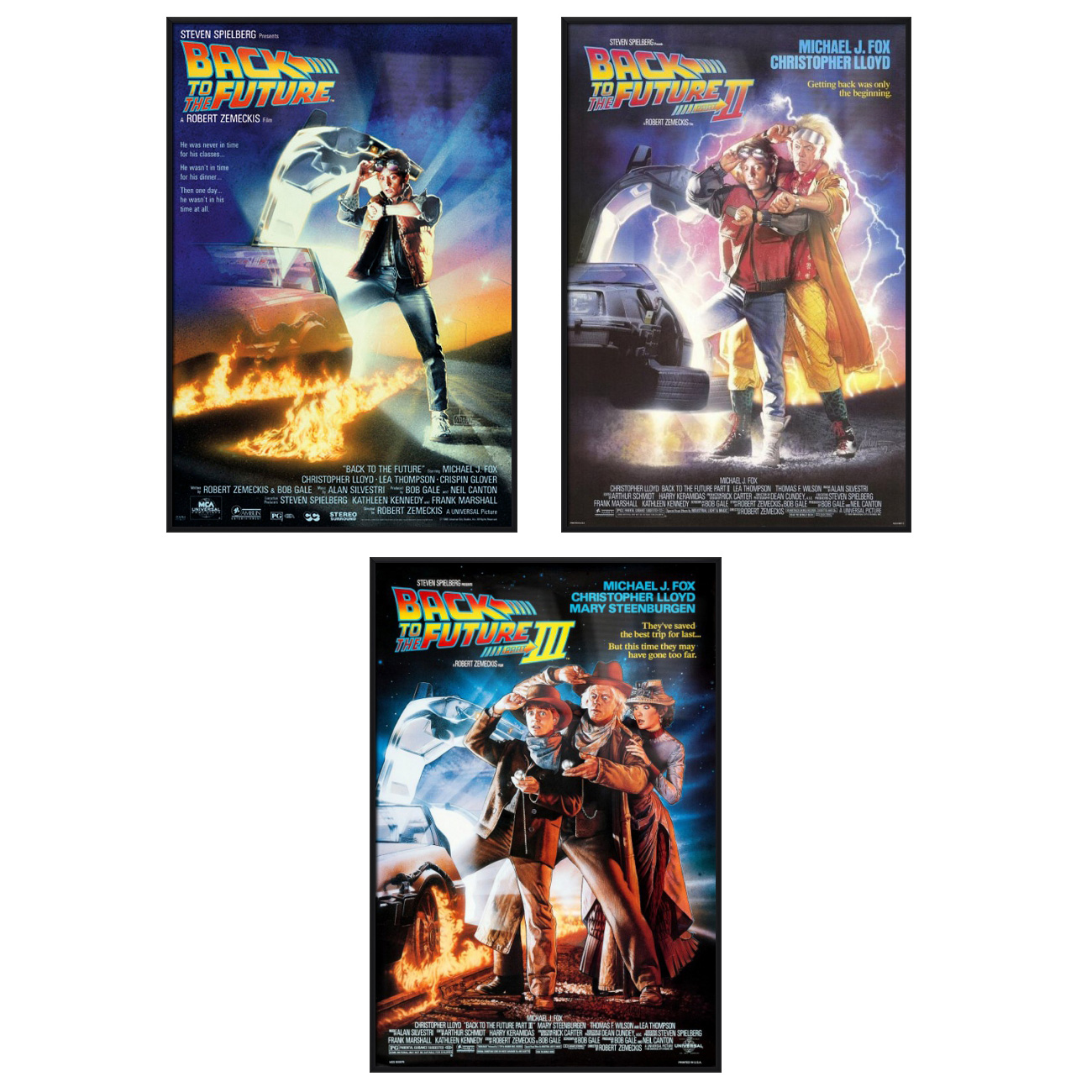 Back To The Future I, II, III Movie Poster Set (3 Full Size Movie Posters) (Size: 27'' x 40'' each) by