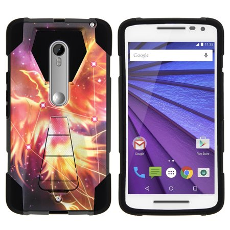 Case For Motorola Droid Maxx 2   Moto X Play Hybrid Cover   Shock Fusion   High Impact Shock Resistant Shell Case   Kickstand   Phoenix Bird Stars