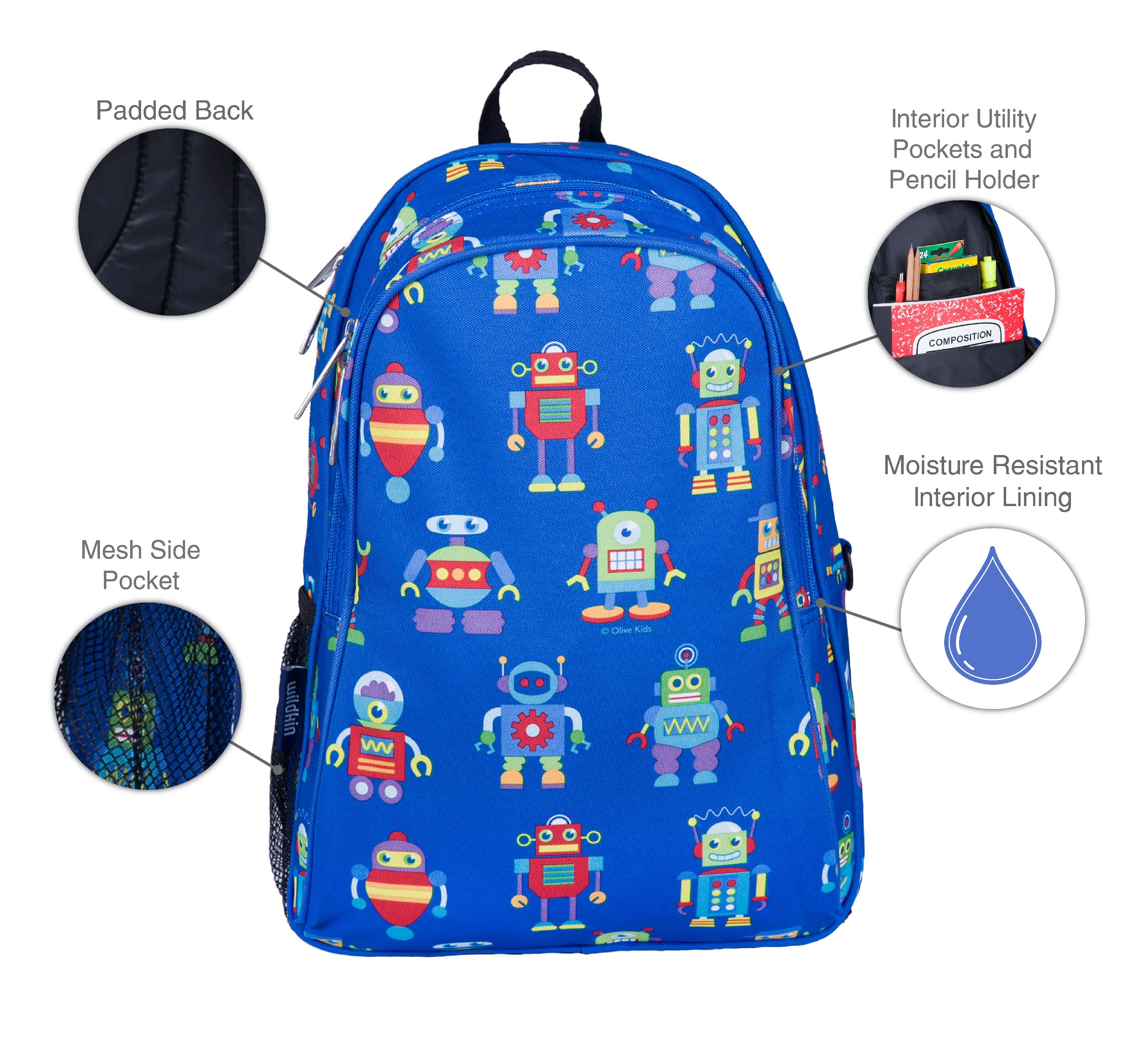 New Boys Backpack /& Lunchbox Set Robots Wildkin OliveKids 3-6 yrs 15in