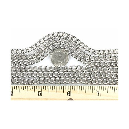 Curb Chain Welded 1.6mm 10 Foot Length Nickel Finish (Welded Foot Ring)