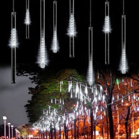 Led Falling Rain Lights With 30Cm 8 Tube   Meteor Shower Light  Falling Rain Drop Christmas Lights  Icicle String Lights For Holiday Party Wedding Christmas Tree Decoration  White