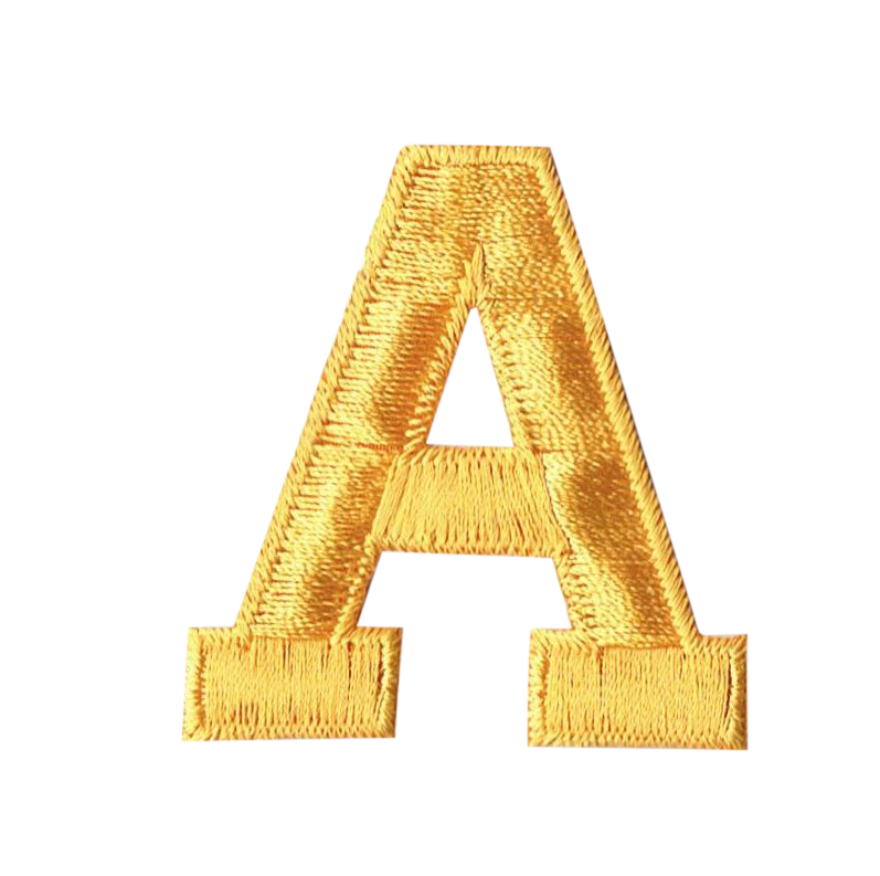 "Alphabet Letter - A - Color Yellow - 2"" Block Style - Iron On Embroidered Applique Patch"