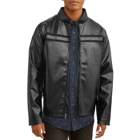 Men's Faux Leather Full Zip Jacket, up to size