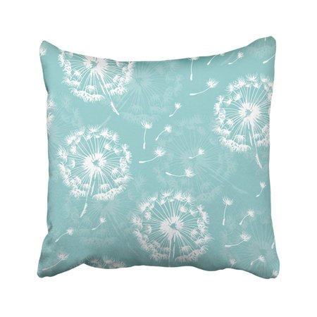 BPBOP Green Blowing Dandelion Pattern Plant And Seeds On Sky White Abstract Blossom Blow Botany Pillowcase 20x20 inch