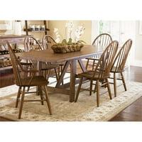 Liberty Furniture Farmhouse 7 Piece Trestle Table Set