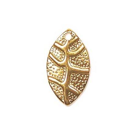 22k Gold Leaf (22K Gold Plated Stamping Textured Leaf Charms 18mm (20) )