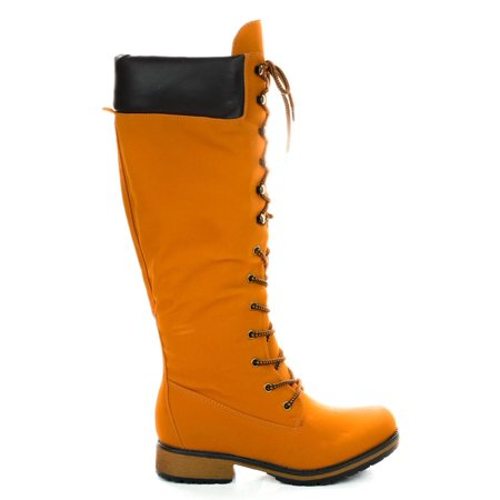 (Lauren02 by Nature Breeze, Women Military Combat Calf High Boots w Padded Collar & Threaded Sole)