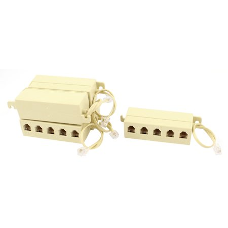 - 5 Pcs 5 Way Outlet 6P4C RJ11 Telephone Modular Jack Line Splitter Adapter Beige