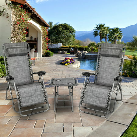 Reclining Patio Chairs, 3PCS Foldable Camp Lounge Chair Zero Gravity with Adjustable Headrests, Strong Beach Chairs and Table with 2 Cup Holders, Hold up to 350lbs for Garden Balcony Pool, Q1604 ()