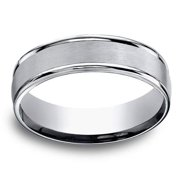 Titanium Men's Satin Finish Center and High-polish Rounded Edge 6mm Comfort Fit Ring Size 08.5