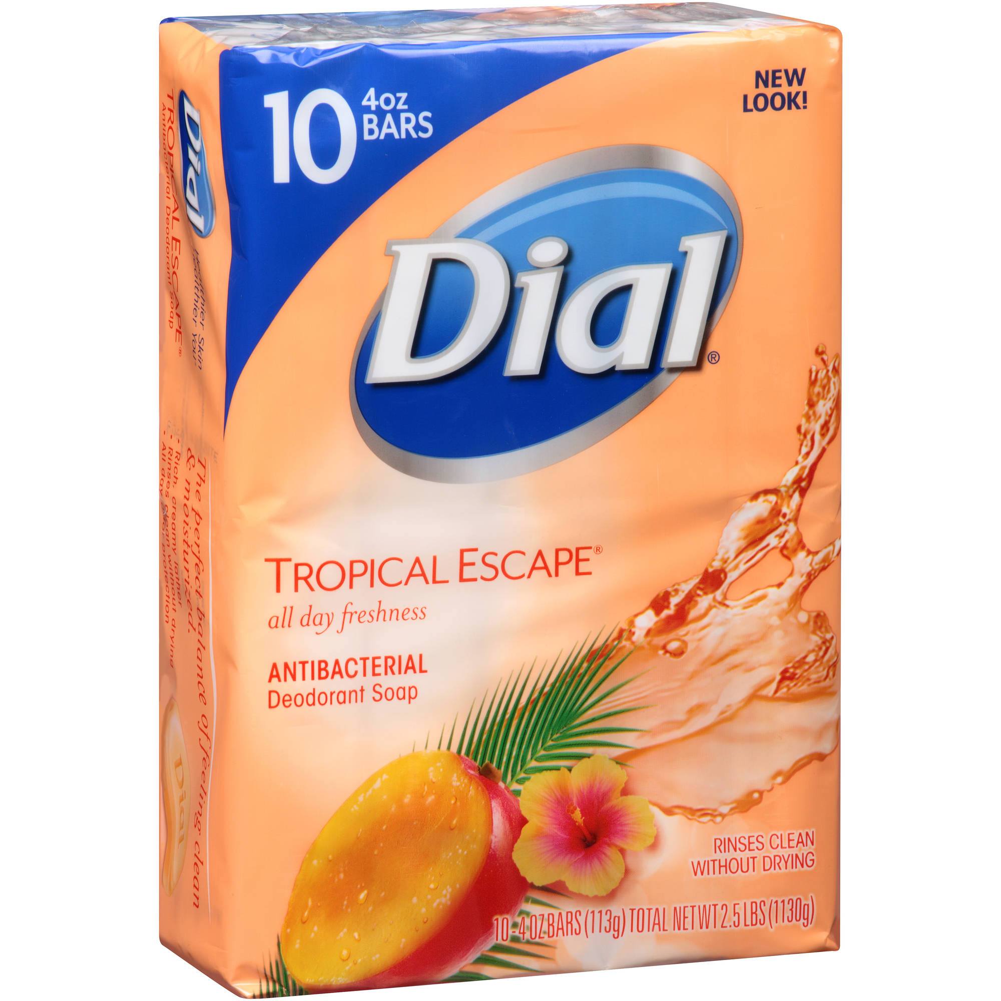 Dial Tropical Escape Antibacterial Deodorant Bar Soap, 4 oz, 10 count