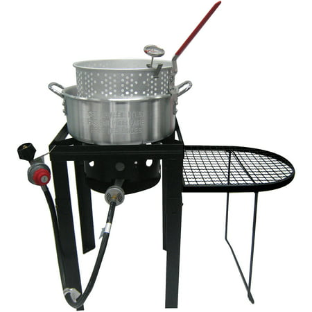 10 qt fish fryer with side table black