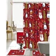 the holiday aisle christmas bathroom decor 18 piece red shower curtain set - Christmas Bathroom Decorations