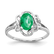 Primal Gold 14 Karat White Gold 7x5mm Oval Emerald Ring