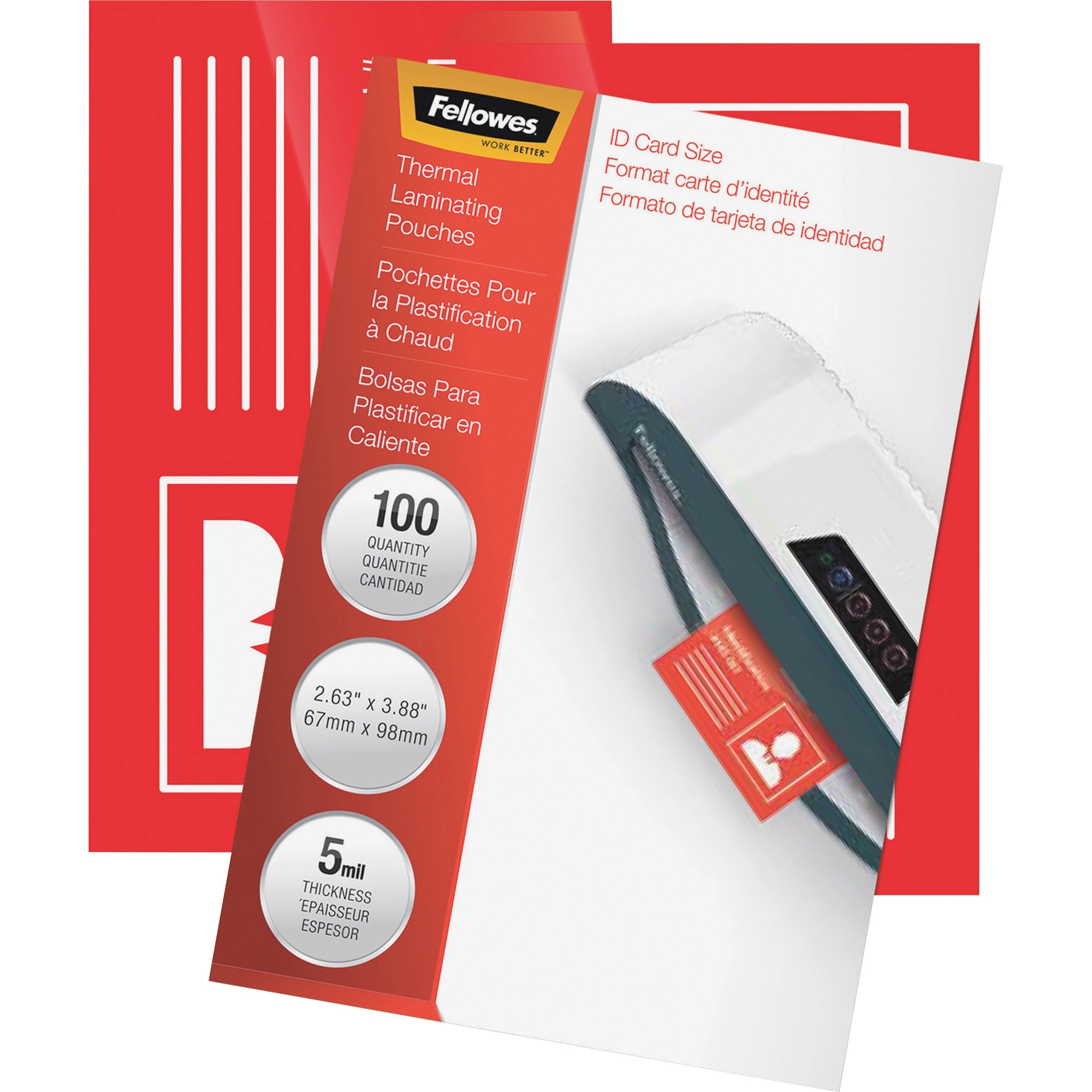 Fellowes, FEL52015, Glossy Laminating ID Pouches, 100 / Pack, Clear