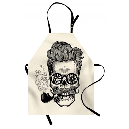 Gentlemans Pipe (Indie Apron Hipster Gentleman Skull with Mustache Pipe and Eyeglasses with Inscription Vintage, Unisex Kitchen Bib Apron with Adjustable Neck for Cooking Baking Gardening, Black Cream, by Ambesonne )