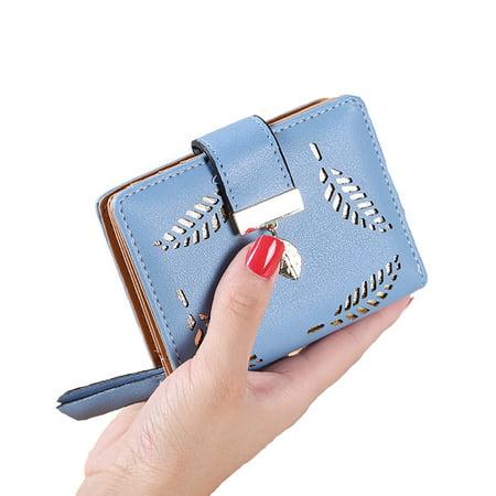 Women Small Wallets Female Leaf Pendant Hollow Short Purse PU Leather Lady Zipper Coin Pocket Wallets