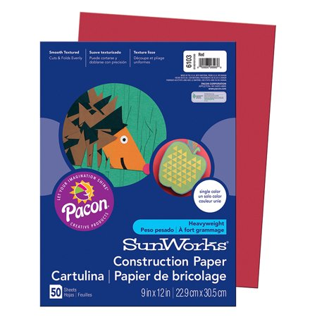 Construction Paper, 58 lbs., 9 x 12, Red, 50 Sheets/Pack