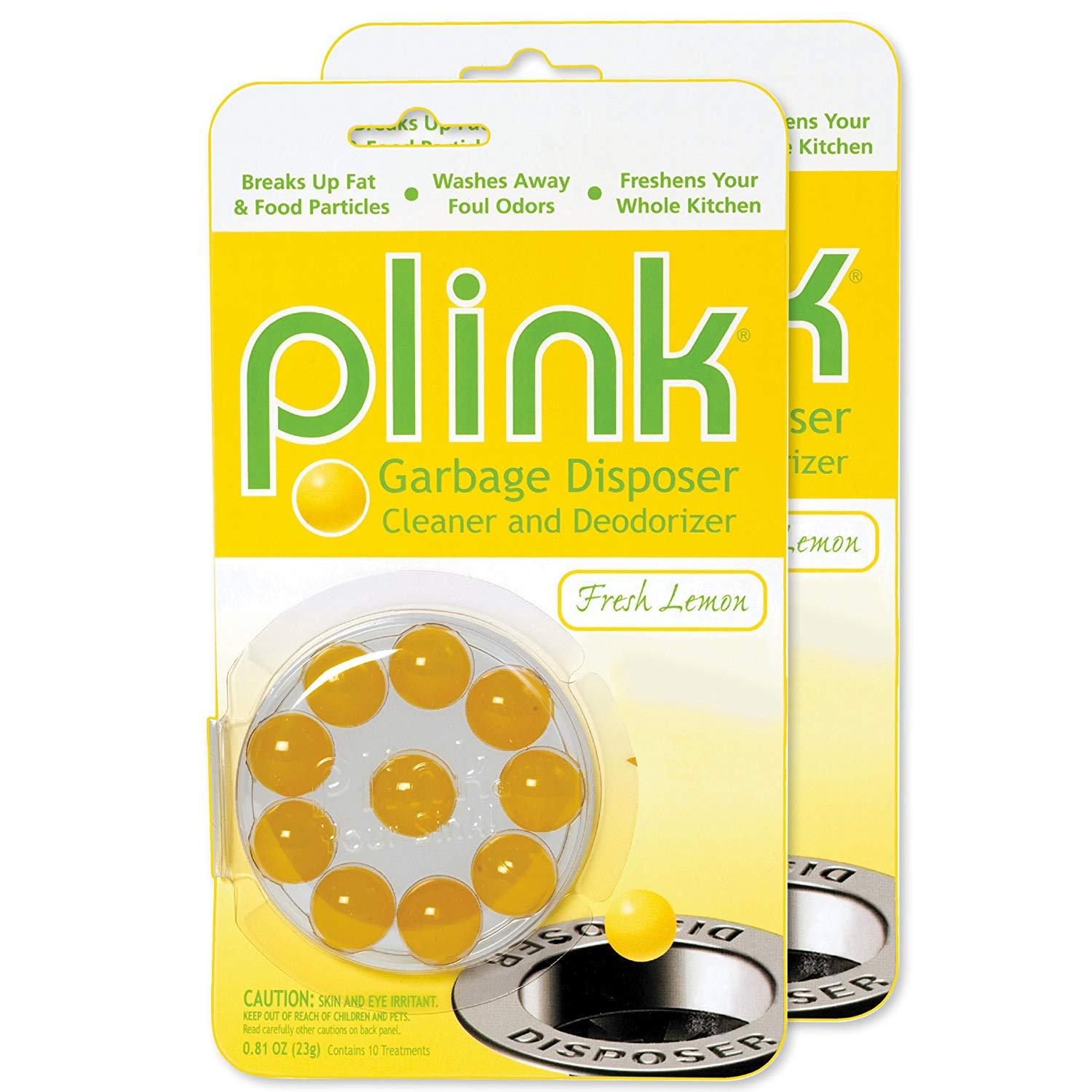 Garbage Disposal Cleaner and Deodorizer, Original Fresh Lemon Scent, Value 2-Pack for 20 Cleanings, Plink balls clean and deodorize kitchen sink.., By Plink