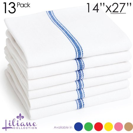 Liliane Collection Kitchen Towels, Set of 13, Restaurant Quality, Multiple Colors
