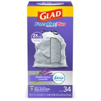 Glad ForceFlexPlus Tall Kitchen Drawstring Trash Bags - 13 Gallon Grey Trash Bag, Lavender with Febreze Freshness - 34 Count