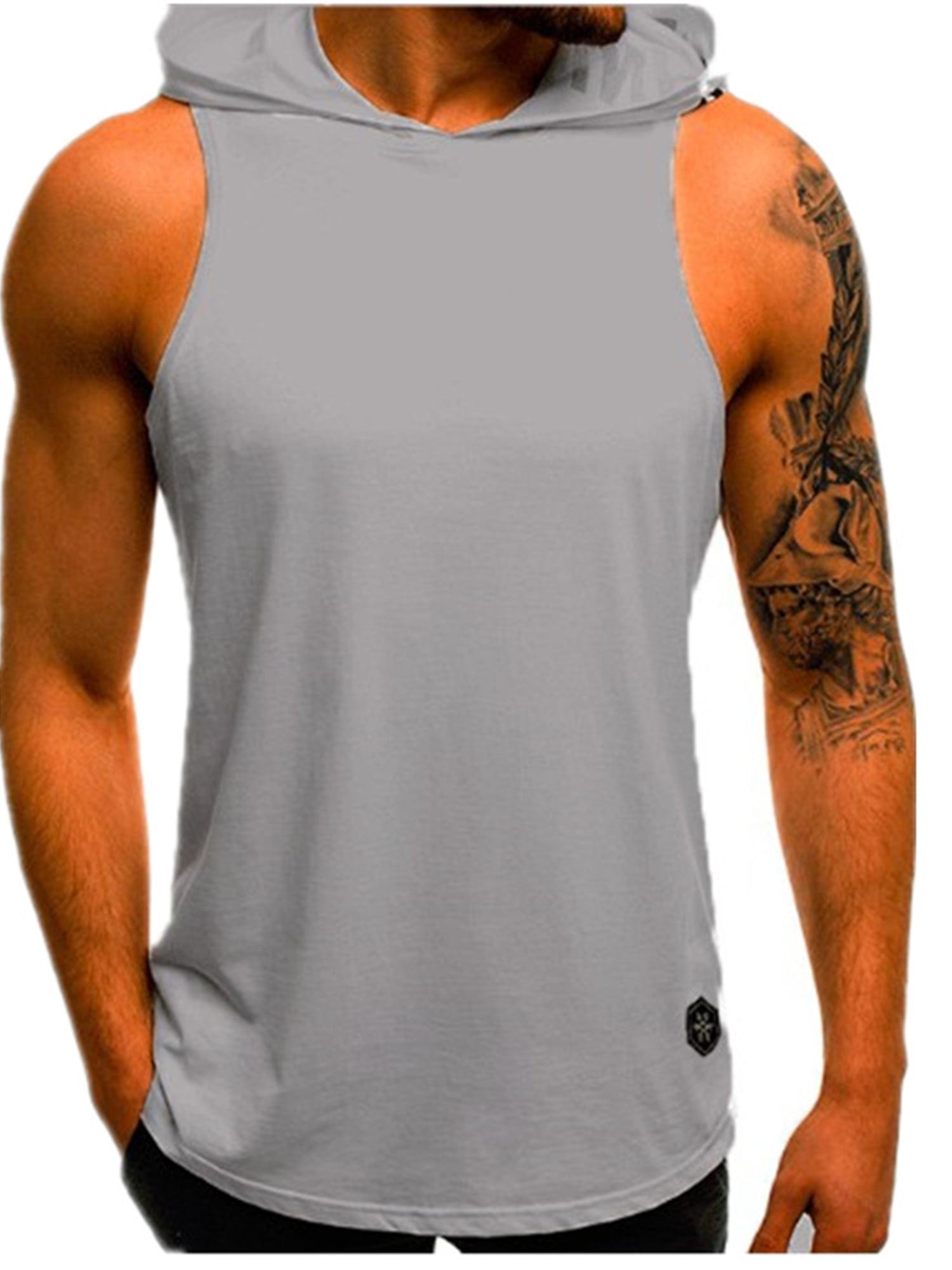 Men Sport Muscle Hoodie Tank Vest Top Sleeveless T-Shirt Tee Gym Workout Fitness