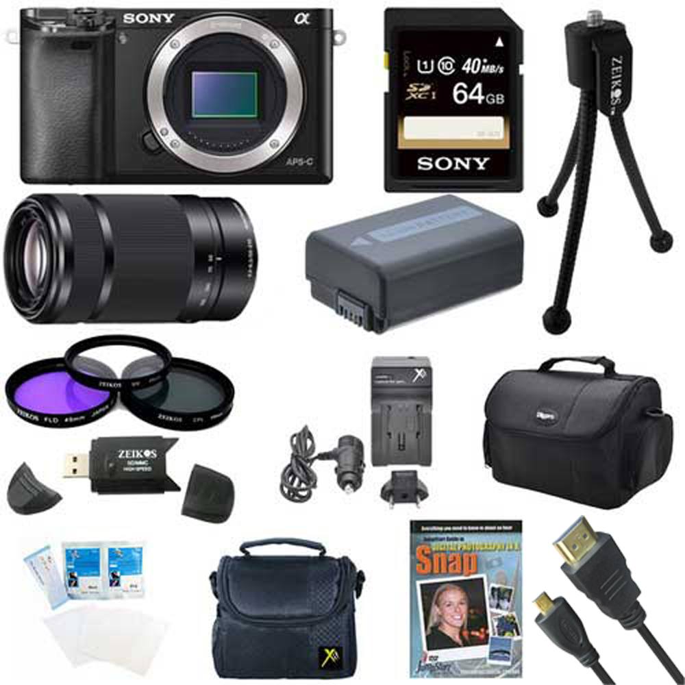 Sony Alpha a6000 Sony a6000 ILCE6000/B ILCE6000 24.3 Interchangeable Lens Camera - Body only Sony E 55-210mm Lens BUNDLE with 64GB Class 10 Card, Spare Battery, Deluxe Padded Case, Micro HDMI Cable
