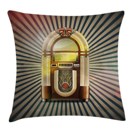 Jukebox Throw Pillow Cushion Cover, Retro Vintage 50s Pin Up Inspired Striped Backdrop Old Music Box, Decorative Square Accent Pillow Case, 18 X 18 Inches, Brown Beige and Petrol Green, by Ambesonne