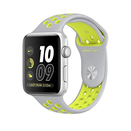 Watch Nike+ 38mm SIlver Aluminum Case Silver/Volt Nike Sport Band - Silver AluminumSmart Smartwatch for iPhone Nike Plus MNYP2LL/A