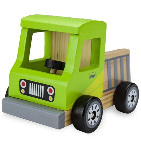 Wooden Toy Truck - Wooden Cars For Kids, Wooden Wheels Beech Wood Pickup Truck Wooden Car Toys