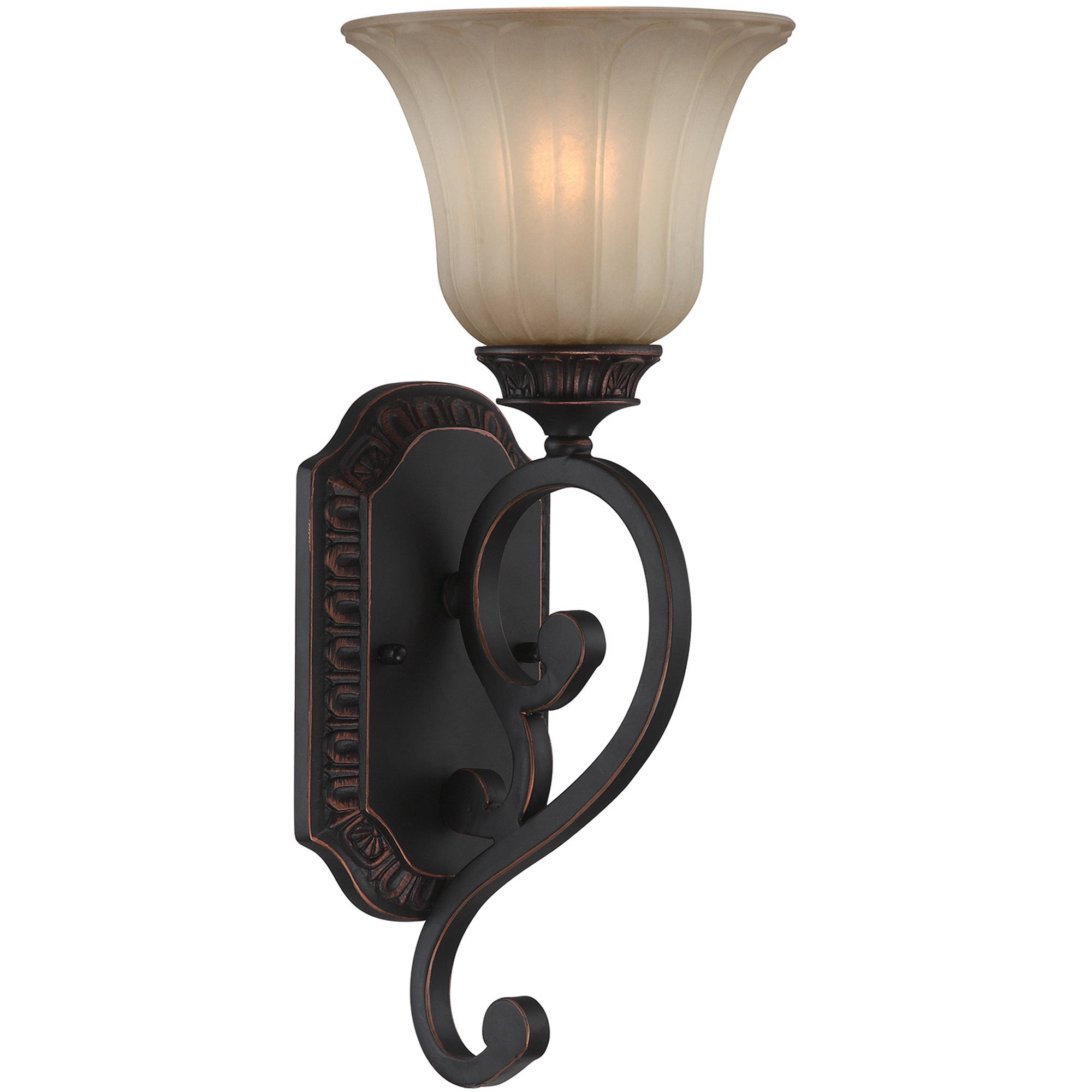 Lite Source Crescentia 1-Light Wall Lamp, Antique Bronze Finish with Light Amber Glass Shade by Lite Source