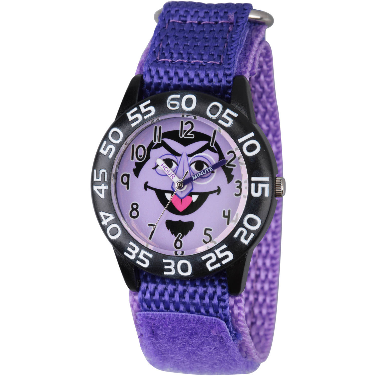 Sesame Street Count von Count Boys' Black Plastic Time Teacher Watch, Purple Hook and Loop Nylon Strap