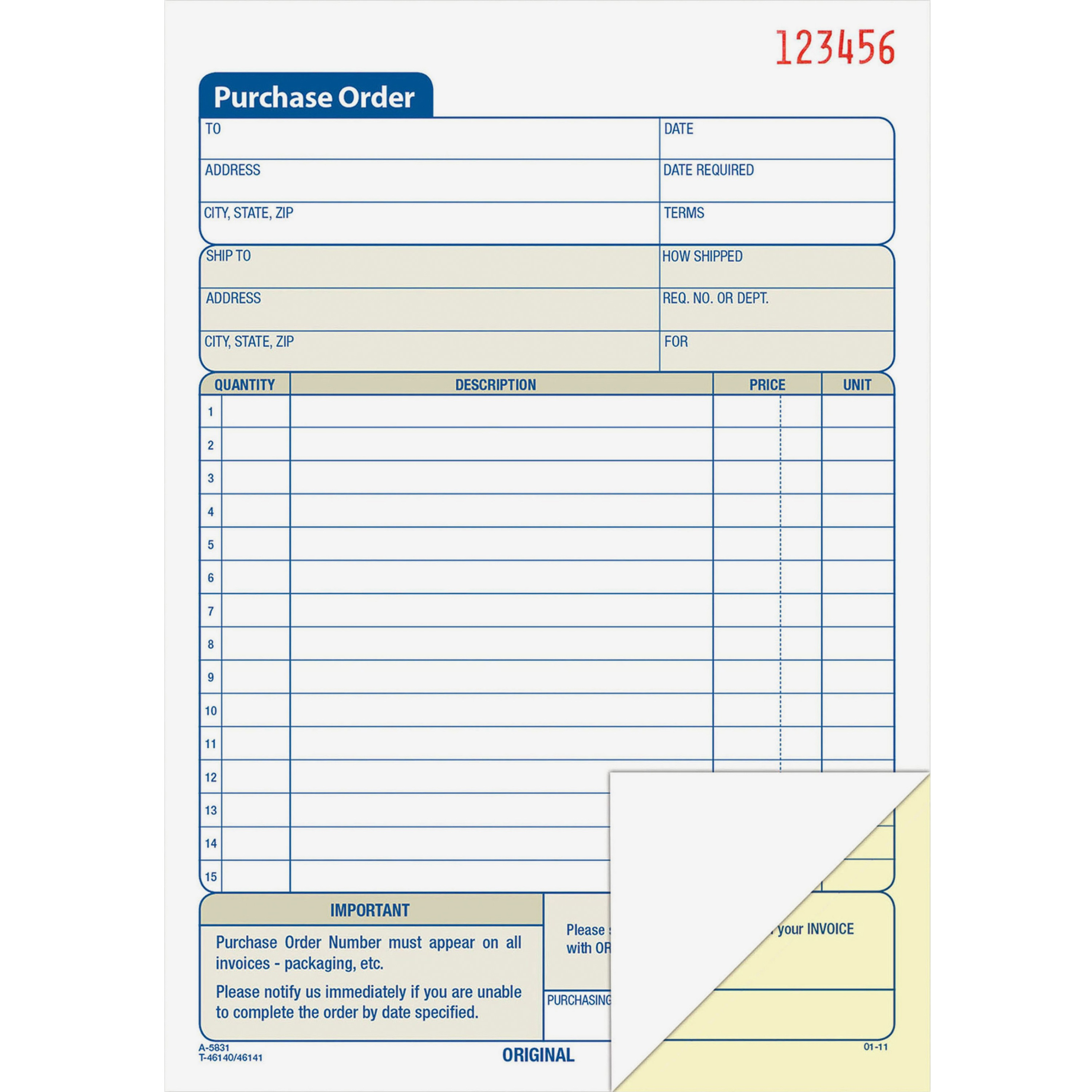 Adams Carbonless Purchase Order Statement