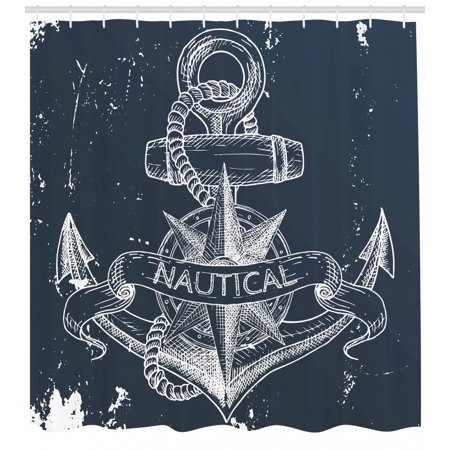Marine Shower Curtain Nautical Knot Compass Anchor Pattern Sea World Ocean Life Grunge Illustration