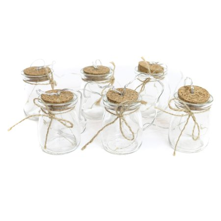 Glass Jar Light Decor with 3 LED Lights, Clear, Set of 6