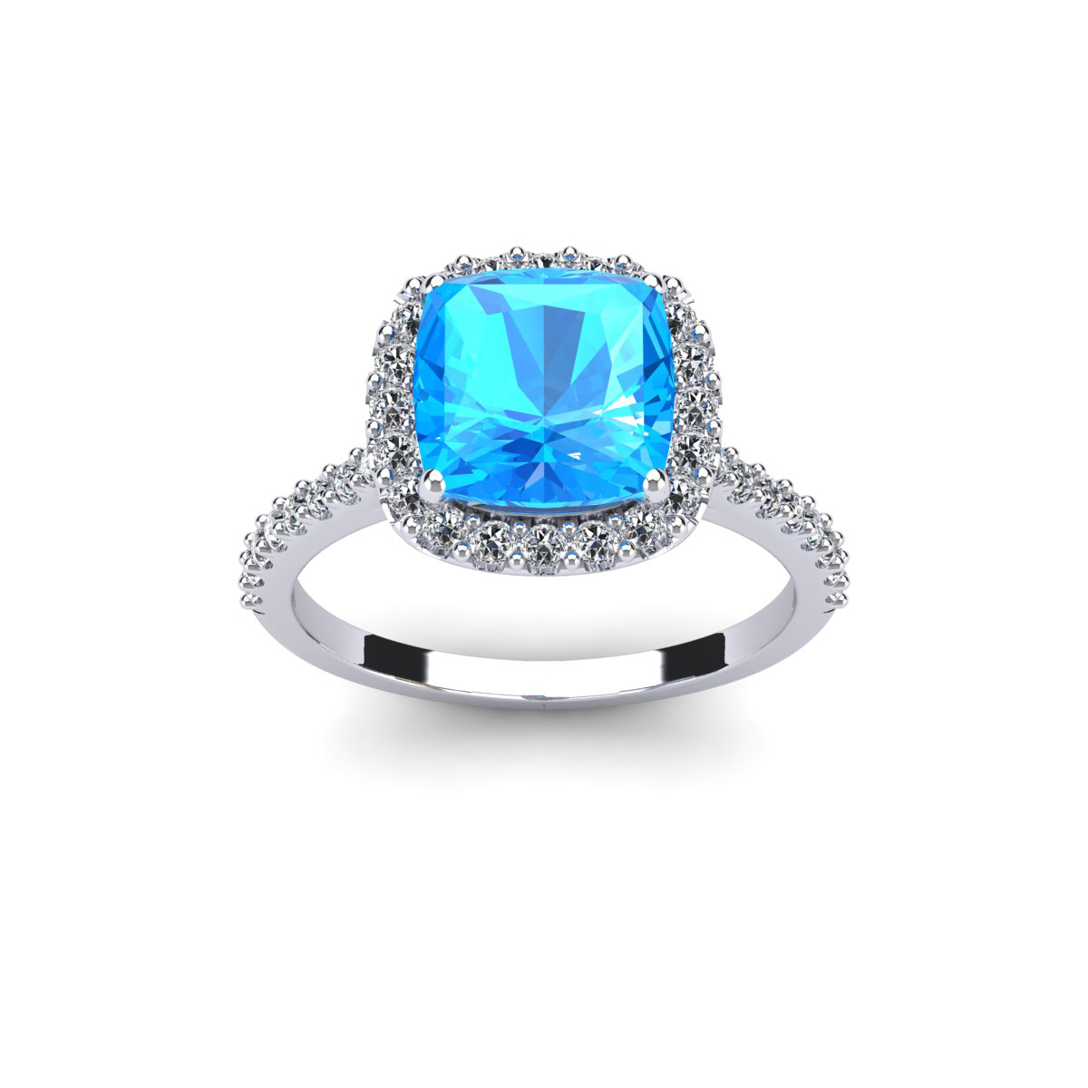SuperJeweler 3 Carat Cushion Cut Blue Topaz and Halo Diam...