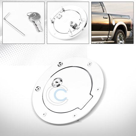 Velocity Concepts Chrome Aluminum Fuel Gas Door Cover Cap Lock Key 09-18 Dodge Ram 1500 2500 3500 Aluminum Fuel Cap