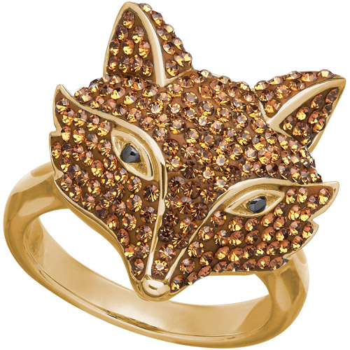 Luminesse Swarovski Element 18kt Gold over Sterling Silver Fox Ring, Size 7