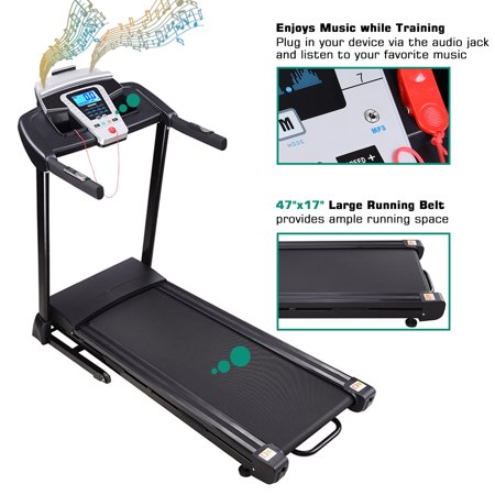 Yescom 2.25HP Folding Electric Treadmill Motorized Running Walking Machine Cardio Trainer with Speaker LCD Display